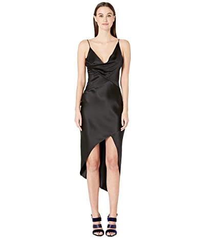 Cushnie Sleeveless Wrap Around Dress with Front Cowl and Chiffon (Black) Women