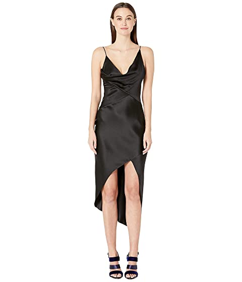 Cushnie Sleeveless Wrap Around Dress with Front Cowl and Chiffon