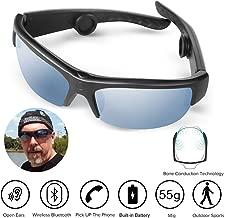 Bone Conduction Sunglasses,Bluetooth Wireless Waterproof Sport Bone Conduction Headphones Glasses Earphones Headset Hearing Aid Microphone Music Mp3 Player (141mm)