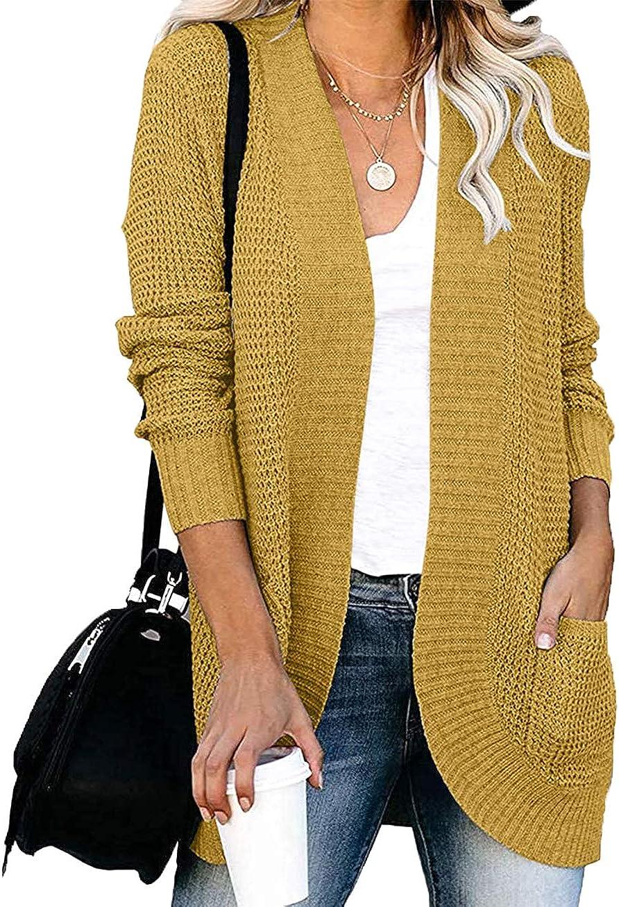 YIBOCK Womens Long Sleeve Open Front Waffle Chunky Knit Cardigan Sweater Outwear