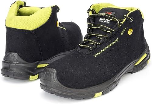 SAMURAI Chaussures de sécurité Hautes Topaz anti-perforation anti-perforation anti-perforation et anti-dérapantes (S1P, SRC Esd) Noir vert 9a6
