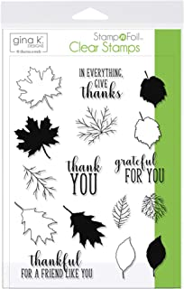 Gina K. Designs for Therm O Web 18106 StampnFoil Clear Stamps Thankful Leaves