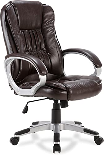 high quality BELLEZE High-Back Executive Office Chair w/Padded Arms lowest outlet online sale Swivel Tilt, Mocha sale