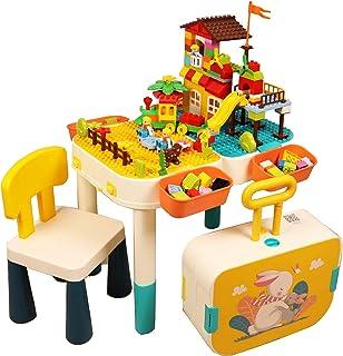 RANRANHOME Aktivitetsbord för småbarn, 6 i 1 set med barnbords- och stolar, multifunktionellt lekset kompatibelt byggsten,...