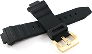 30MM Black Silicone Watch Strap Stainless Gold Buckle fits 46mm Expedition Watch