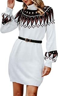 Simplee Women's Turtleneck Lantern Sleeve Mini Knitted Elegant Pullover Sweater Dress