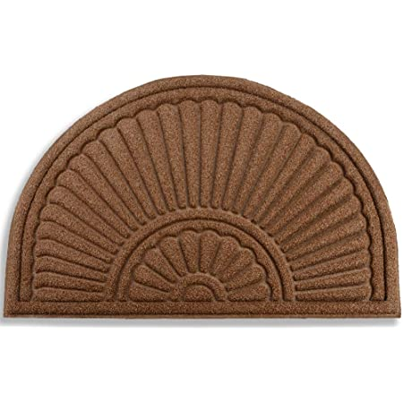 """Mibao Half Round Door Mat, Rubber Doormats Welcome Entrance Way Mat, Heavy Duty Semicircle Door mats, Non-Slip Durable Low-Profile Easy to Clean Waterproof Front Outdoor, 24"""" x 36"""", Coffee"""
