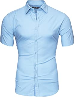 Kayhan Camisas Hombres Camisa Hombre Manga Corta Ropa Camisas de Vestir Slim fácil de Hierro Fit S M L XL XXL-6XL - Uni, H...
