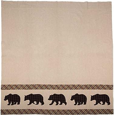 VHC Brands Rustic & Lodge Bath Tan Curtain, Shower 72x72, Wyatt Bear