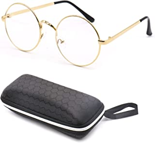 JETEHO Round Wire Rim Glasses Costume Accessory with Case