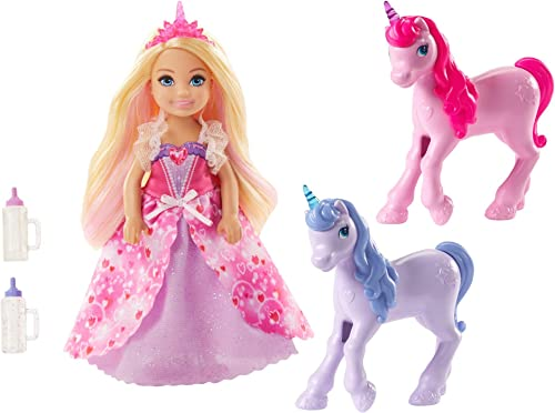 Barbie Dreamtopia playset with Chelsea Princess Doll, 2 Baby Unicorns and Accessories