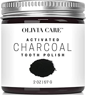 OLIVIA CARE Activated black Charcoal Tooth whitening Toothpaste. 100% all Natural Teeth Whitening Product - Anti Fungal White Clay that fights Stains, Cavities, Bad Breath, and Gum Disease
