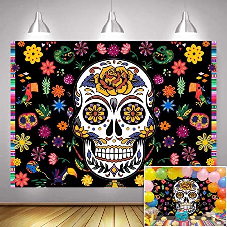 10x6.5ft Day of The Dead Backdrop Dia De Los Muertos Photography Background Cartoon Opened Red Curtain Stage Mexican Skull Fiesta Carnival Make Up Party Banner Indoor Decors Wallpaper