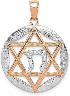 Lex & Lu 14k Rose Gold and Rhodium Jewish Star with Chai in Round Pendant