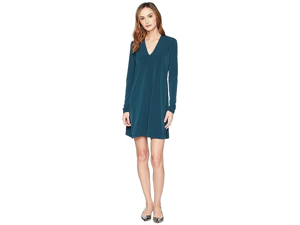 Kenneth Cole New York Long Sleeve V-Neck Dress (Petrol) Women