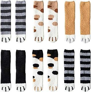 CHEPL, Calcetines Invierno 6 Pares Calcetines Mujer Invierno Calcetines de Pata de Gato para Mujer Vellón de Coral Abrigados