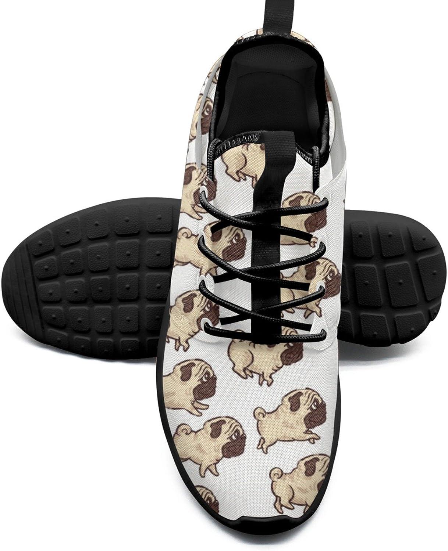 Women's Fashion Lightweight Sneaker Cute Pug Dog Retro Tennis shoes