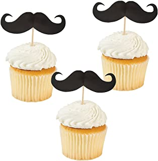 Fun Express Mustache Food and Cupcake Party Picks - 25 Pieces