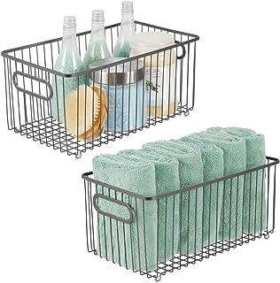 mDesign förvaringskorg i rutnät – korg i metall med integrerade handtag – trådkorg för köket, badrummet, sovrummet – 2-pac...