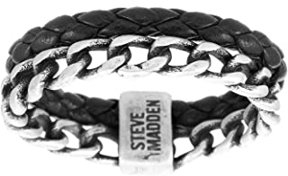 Men's Curb Chain and Braided Faux Leather Double Strand Ring in Stainless Steel