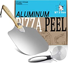 Upgraded Aluminum Metal Pizza Peel With Foldable Wood Handle, Easy Storage Pizza Spatula 12 x 14-Inch Pizza Paddle for Bak...
