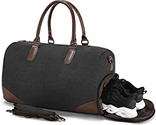 Fresion Canvas Travel Duffel bag -Weekender Overnight Bag With Shoe Pouch Men