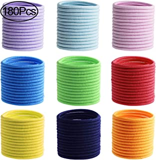 Hicdaw 180PCS Hair Ties for Baby Girls Elastic Hair Ties Colorful No Metal Elastic Hair Bands Holder for Ponytail