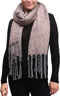 APPARELISM Super Soft Fuzzy Large Wide Long Tassel Oblong Scarf With Fringe.