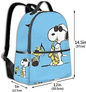 Classic School Backpack Snoopy Singing Unisex College Schoolbag Travel Bookbag Black