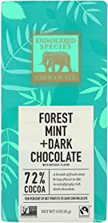 Endangered Species Natural Chocolate Bars - Dark Chocolate - 72 Percent Cocoa - Forest Mint - 3 oz Bars - Case of 12 - Dai...