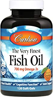 Carlson - The Very Finest Fish Oil, 700 mg Omega-3s, Norwegian Fish Oil Supplement, Wild Caught Omega 3 Fish Oil, Sustaina...