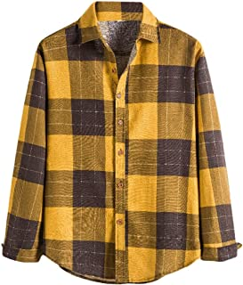 CRYYU Men's Long Sleeve Hip Hop Plaid Stitching Button Front Shirts