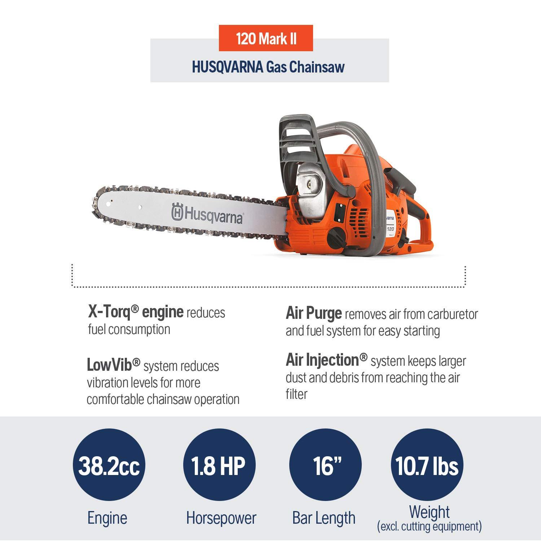 Husqvarna 120 Mark Ii 16 In Gas Chainsaws Orange Gray Amazon Sg Home Improvement