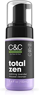 C&C by Clean & Clear Total Zen Calming Lavender Mousse Facial Cleanser to Remove Dirt, Relaxing Oil-Free Face Wash for Sen...