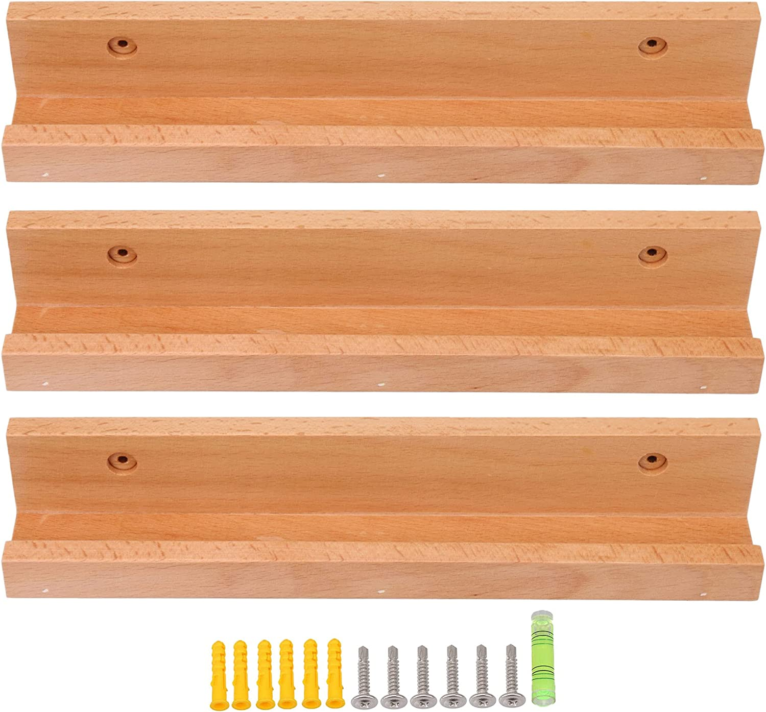 RDEXP 3PCS Beech Year-end gift Wooden Retro Industry No. 1 Record Ledge Holds Artworks Vinyl
