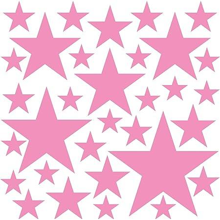 PREMYO Set de 32 Stickers Muraux Enfants Étoiles - Autocollants Décoration Murale Chambre Bébé - Facile à Poser Rose