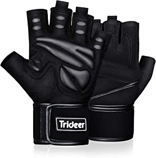 Trideer Padded Weight Lifting Gloves, Gym Gloves, Workout Gloves, Rowing Gloves, Exercise..