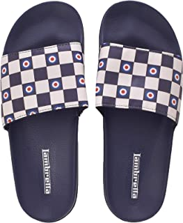 Lambretta Mens Checkerboard Casual Summer Holiday Flip Flop Sliders - Navy