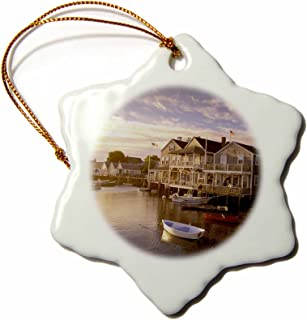3dRose orn_90956_1 Massachusetts, Nantucket Island, Old North Wharf-Us22 Wbi0117-Walter Bibikow-Snowflake Ornament, 3-Inch, Porcelain