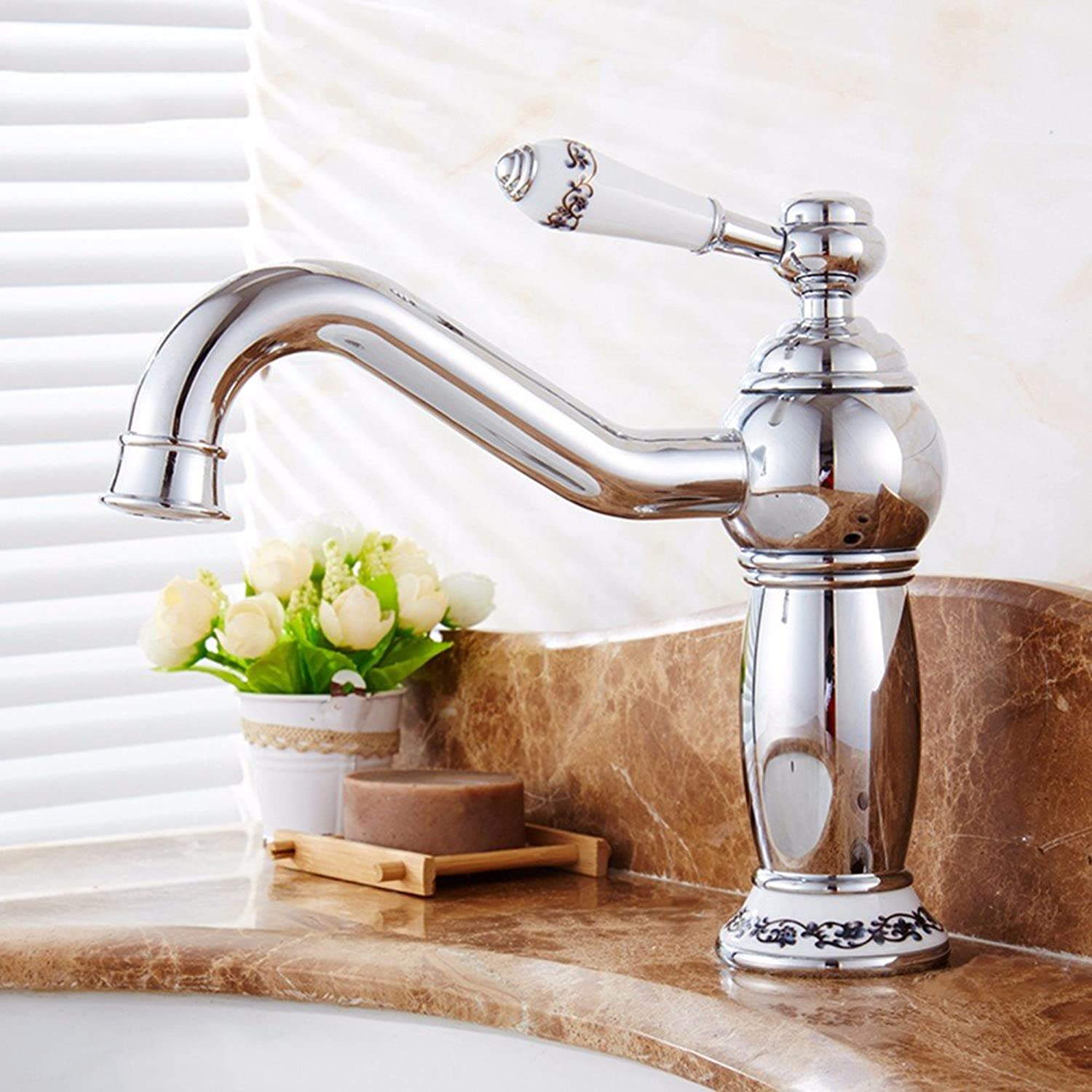 LHbox Basin Mixer Tap Bathroom Sink Faucet European retro style, copper, hot and cold, the basin, single handle, plus high, Single Hole, sink Faucet 11