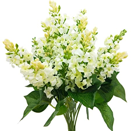 Silk Flower Heads 5 Pure White Delphinium Blossoms Artificial Flowers 3 layers