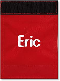 "Personalized Red Luggage Handle Wrap - 2"" x 4"" closed"
