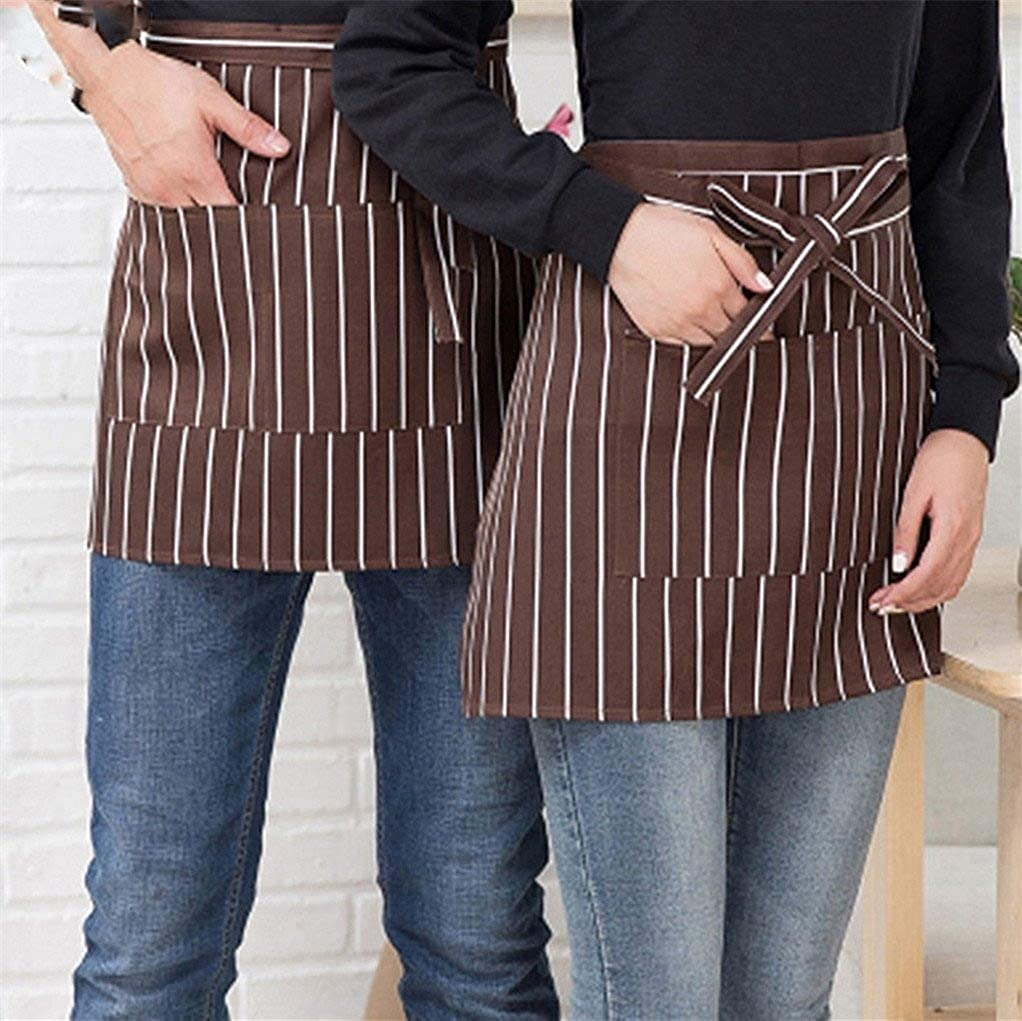 super1798 Simple Striped Plaid Half-Length Short Waist Apron with Pocket