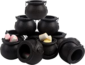 DIYASY Halloween Mini Candy Cauldron,12 Pcs Black Plastic Buckets with Handle for Kids Halloween Candy Holder and Party Decoration