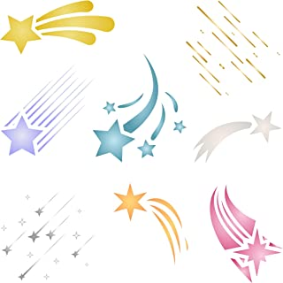Shooting Stars Stencil - 6.5 x 6.5 inch - Reusable Celestial Shooting Star Wall Stencils Template- Use on Paper Projects Scrapbook Journal Walls Floors Fabric Furniture Glass Wood etc.