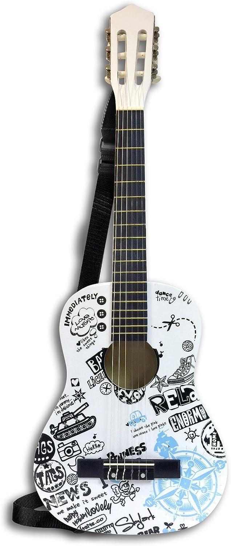 Bontempi 23 8513 Wooden Guitar with Shoulder Strap Assorted Mod. Compass pink, 85 cm, Multicolor