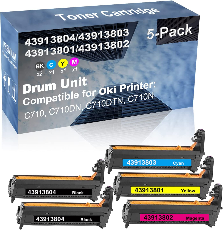 5-Pack (2BK+C+Y+M) Compatible C710, C710DN, C710DTN, C710N Printer Drum Kit High Capacity Replacement for Oki 43913804+ 43913803+ 43913801+ 43913802 Drum Unit