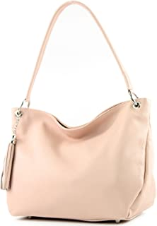 modamoda de - T154 - ital Schultertasche Umhängetasche aus Leder, Farbe:Rosa