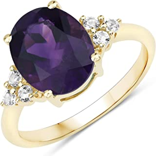 JOHAREEZ 10kt Gold Amethyst Ring - 3.44 Carat Natural Amethyst Oval and White Topaz Ring in Solid 10kt Yellow Gold for Wom...