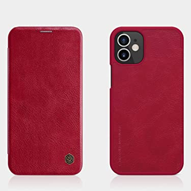 """Nillkin Case for Apple iPhone 12 Mini (5.4"""" Inch) Qin Genuine Classic Leather Flip Folio + Card Slot Red Color"""